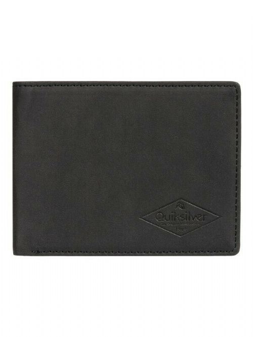 QUIKSILVER MENS WALLET.NEW SLIM VINTAGE III FAUX LEATHER BLACK MONEY PURSE 9W 8K